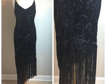 Vintage 90's Slip Dress Flapper Fringe