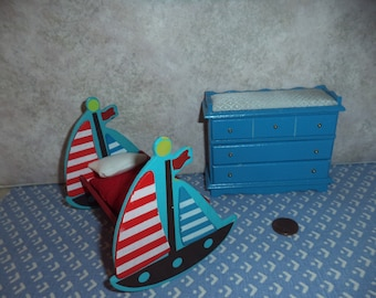 1:12 scale Dollhouse Nautical Nursery Set