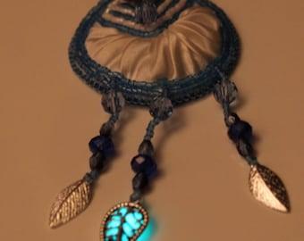Aqua Glow in the Dark Silvertone Leaf and White Shibori Silk Blue Beaded Pendant