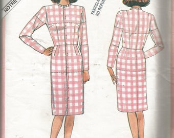 VINTAGE VOGUE PATTERN.  1985 Misses Fitting Shell..Mid Knee, jewel neckline, fitted bodice, straight skirt, front opening..Size 12 Uncut