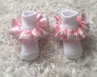 Pink glitz ruffle socks, pink satin with rhinestones ruffle socks, pink satin ruffle socks, rhinestone diamond ruffle socks