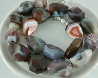 70s Vintage Chunky Banded Agate Necklace Statement Necklace Natural Stone Necklace Earth Tones Gift for Her Healing Stone necklace
