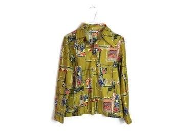 Retro mustard 70s blouse // 1970s atumnal blouse // vintage womens top // mustard yellow top // 70s boho top // hippie top