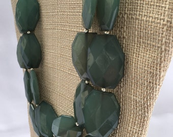 Blue Green necklace Statement Necklace Gold or Silver Chain Double Strand Bib Necklace Green Blue Necklace Blue Green Jewelry Ocean Jewelry