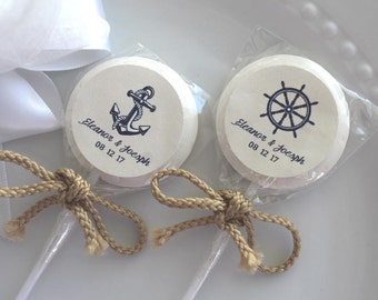 Nautical Candy  Nautical Lollipops Wedding Candy Bridal Shower Candy 2 inch lollipop personalized 24 count