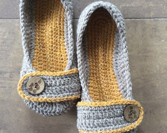 Crochet Slippers - womens shoes - knit slippers - yellow and gray ladies crochet knit shoes - custom made to order
