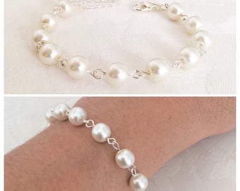 Pearl Bracelet, Pearl Jewelry, Ivory Pearl Bracelet, Bridesmaid Bracelet, Ivory Bridesmaid Jewelry, Ivory Bracelet, Wedding