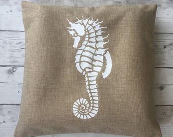 Seahorse pillow, nautical pillow cover, beach decor, nautical living room