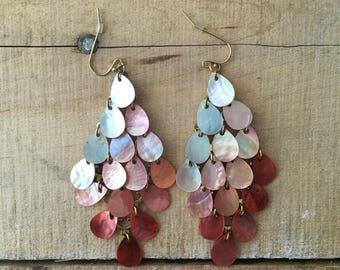 Chandelier Coral Ombre Earrings