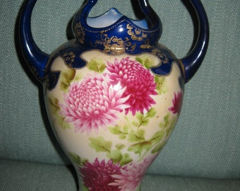 50% Off Antique Hand Painted Japan Blue White Vase Pink Floral and Raised Gilt Gold Design Two Handles