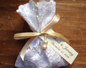 lace favor bag, italian wedding favors,  jewelry pouches, italian wedding candy, baptism favors, favor bags baptism, SET of 10