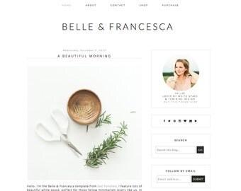 Blogger Theme - Belle & Francesca - Blogger Template - minimal clean blog - fashion blogger - feminine blogger - beauty blog