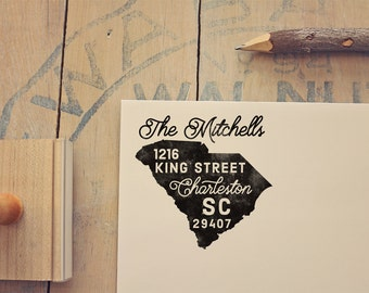 South Carolina Return Address State Stamp - Personalized Rubber Stamp