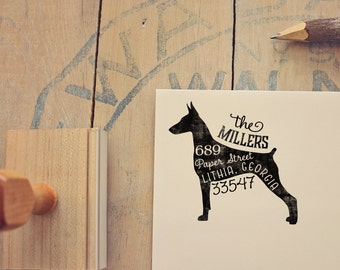 Doberman Return Address Stamp, Housewarming & Dog Lover Gift, Personalized Rubber Stamp, Wood Handle