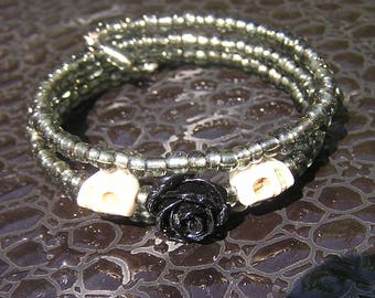 Day of the Dead Bracelet Wrap Around sugar skull 3 loop memory wire grey black rose cream mini skulls gothic