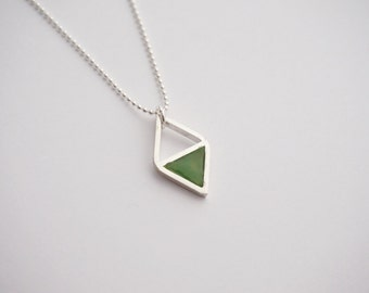 Double Triangle - necklace - sterling silver - by STICKTAILS