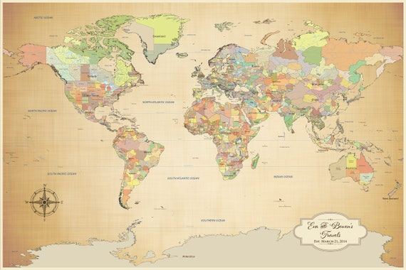 Personalized Push Pin World Map With Pins Canvas Print World - World map poster push pins