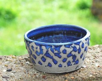 Bowl with Purple Wax Resist Exterior and Blue Interior Glaze / Stoneware Pet Bowl / Handmade Ceramic Bowl w/ Vibrant Blue Reduction Glaze