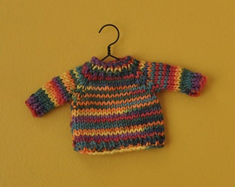 Colorful Variegated Hand-Knit Sweater Ornament