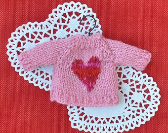 Pink Heart Valentine's Day Hand-Knit Sweater Ornament  *Available to Order*