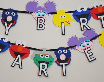 Sesame Street Birthday Party Banner ; Happy Birthday Banner ; Elmo Birthday Party Decorations