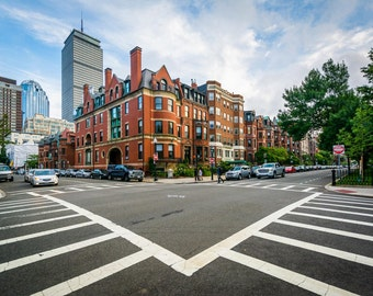 Intersection and crosswalks in Back Bay, Boston, Massachusetts.jpg | Photo Print, Stretched Canvas, or Metal Print.