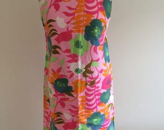 Original Vintage 1950/1960s cotton Japanese print shift dress
