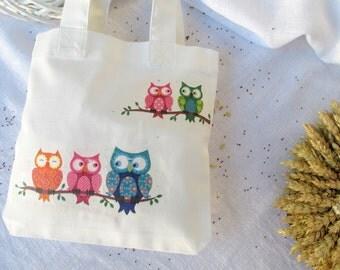 Owls on branches, Kid's tote bag, gift bag, mini tote bag, snack bag, Decoupage on Cotton bag