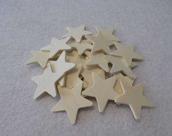 """20 Wood stars, unfinished, 1 3/8"""" x 1/16"""", for wood crafts, wood shapes, wood pieces, kids crafts"""