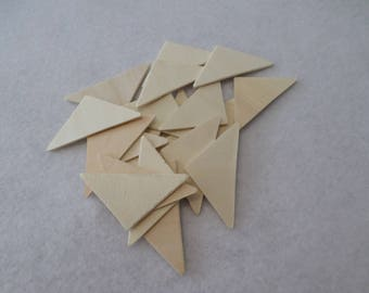 "20 Wood triangles, unfinished, 2 1/8"" x 1"" x 1/16"", for wood crafts, wood shapes, wood pieces, kid's crafts"