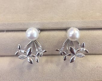 Modern Sterling Silver Shell Pearl And CZ Hanging Earring Detachable Flower Bottom --Ready to Ship--
