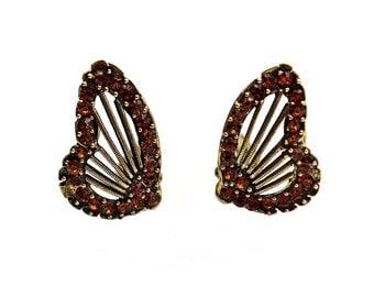 WEISS Butterfly Rhinestone Earrings Clip Ons / b1