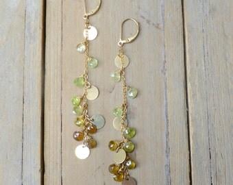 Green Garnet Gypsy Dangler Earrings in 14k Gold Filled