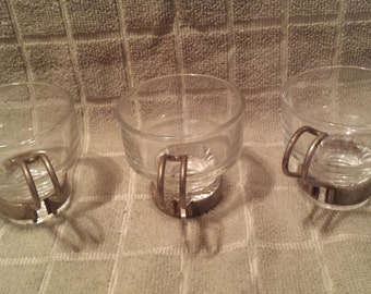 """Vintage 1940's Espresso or Demitasse Cups With Metal Handles Set Of Three Cups """"Best Offers Welcomed"""""""