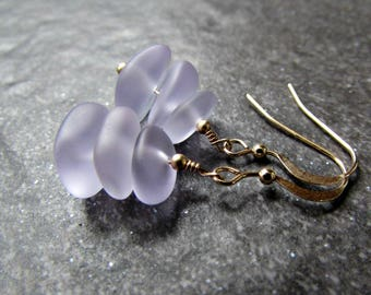 Purple Sea Glass Earrings in Sterling Silver, 14K Yellow Gold Filled or Rose Gold Filled- Beach Glass Jewelry- Ocean Gifts- Coastal Jewelry