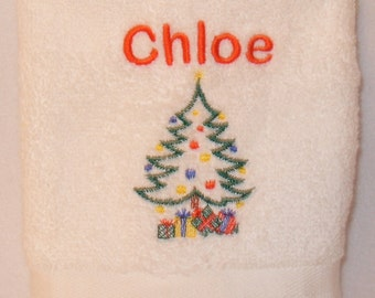 Personalised Christmas TreeFace Cloth Flannel Any Name 100% Cotton