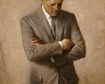 Posthumous official presidential portrait of U.S. President John F. Kennedy, 1970, Jfk