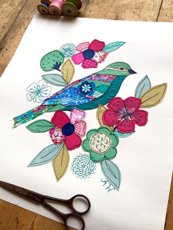 Jade Garden Bird- Stitched Original art-