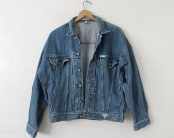LARGE (Wide Armpit) Vintage 80s/90s GUESS Georges Marciano Made in USA Jean Denim Jacket