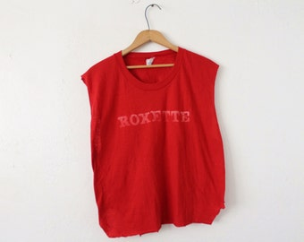 XLARGE+ Vintage 1980s Roxette Soft and Thin Sleeveless Crop Top