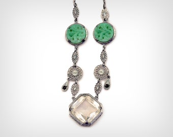 1910's Necklace // Teens/Edwardian Crystal and Jade Sterling Chain Pendant Necklace // Antique Crystal Necklace