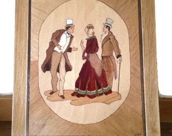 Vintage marquetry wood inlay picture The Pioneers signed art plaque