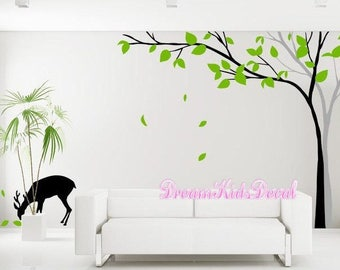 Giant Corner Tree Wall Decal, Swirly Tree with Deer Wall Sticker for Kids Nursery Decor, Tree Decal-DK178
