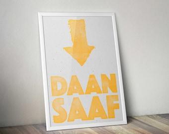 Letterpress style 'Daan Saaf' print