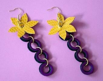 Long summer earrings, Boho ethnic earrings, Leather statement earrings, Multicolor earrings, Tropical, Neon, Purple flower earrings,For her