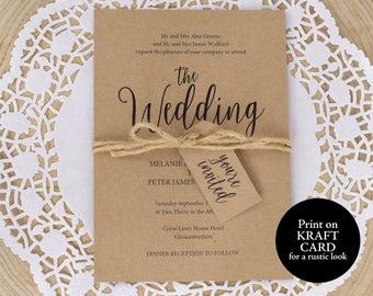 Wedding Invite Template, Rustic Invitation Set, Kraft Wedding Invitation, Invitation Printable, Wedding Invitation, Instant Download, MM02-2