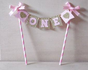 Pink & Gold 1st Birthday Bunting Cake Topper