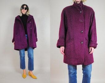 Plum Mohair Wool Oversized Coat