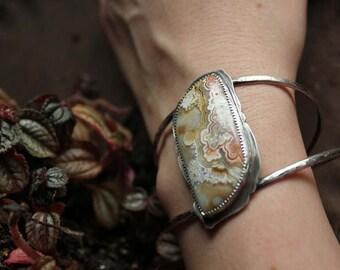 crazy lace agate cuff bracelet simple design bracelet bangle bracelet sterling silver Nearly Lost Jewelry