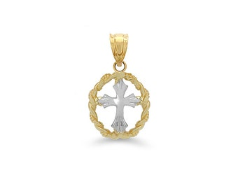 14k solid gold two tone cross in circle pendant. religious pendant.